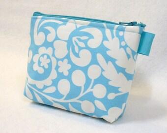 Clearance SALE Bridesmaids Cosmetic Bag Zipper Pouch Makeup Bag Cotton Zip Pouch Gadget Dena Silhouette Floral Turquoise Blue White