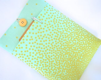 iPad Sleeve, iPad Pro Cover Case, iPad Air Gear, Custom Fit for your Apple iPad Mini, Air, Pro or Android, Padded with Pocket - Mint + Gold
