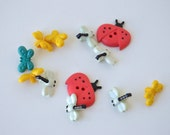Spring Insect Buttons - varied designs & sizes x 12 - Great for Cardmaking and Scrapbooking