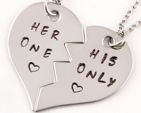 her one his only necklaces couples jewelry girlfriend