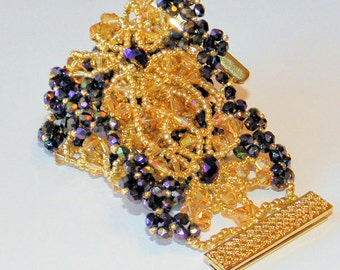 Swarovski crystal bracelet and earring set ,Brandy and Plum crystal bracelet,,gold seed beads bracelet,seed bead jewelry