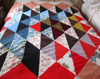 PATCHWORK  quilt TOP 1960s Big bold beautiful, unfinished quilt,unfinished patchwork. bofo fabric, festival decor