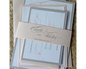 Reserved Listing for Pedro - Romantic Blush and Gray Lustre  Wedding Invitation Set or Party Invitation