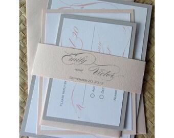 Romantic Blush and Gray Lustre Wedding Invitation Set or Party Invitation