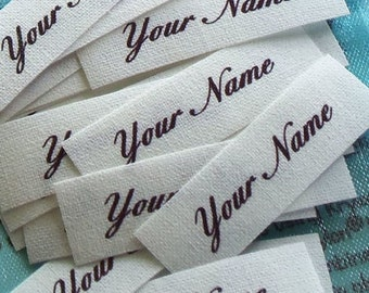 Small Custom Cotton Fabric Labels Sew In Clothing Name Tags Identification Personalized Washable Colorfast 85  - 1/2 x 1 1/2 Inch