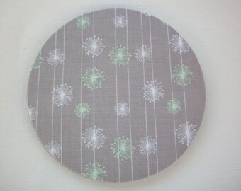 Mouse Pad mousepad / Mat - Rectangle or round - Gray and white mint green dandelions - cubicle decor
