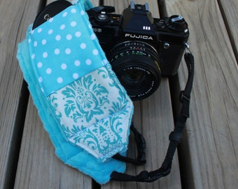 Monogramming included Wide Camera Strap for DSL camera Turquoise and White Damask With minky reverse and Polka Dot lens cap pocket