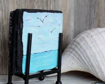 Beach Decor , Coastal Coaster Set - Hand Painted Artistic Nautical Home Set of 4
