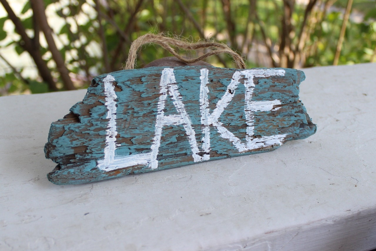 Lake Sign Driftwood Home Decor Rustic Wood Decoration For