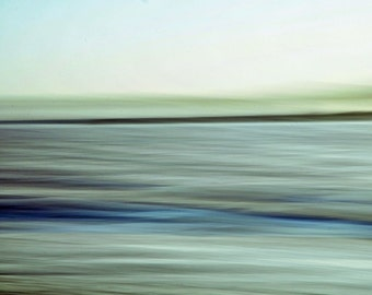 "Abstract landscape photography blue green lake summer landscape dreamy blur - ""Sea of tranquility"" 8 x 10"