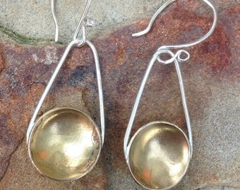 Sterling Silver and Brass Dangle Earring