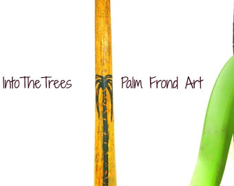 Palm Tree Art Vase Natural Wood Painted Palm Frond Art Coastal Beach Tropical Decor Painted Palm Tree Art Deco