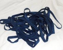 VINTAGE 1/2 inch Blue Braided Conso Trim/10 3/4 Yards Cushion Trim/Upholstery/Crazy Quilting/Costume Trim/Deep Blue Braided Trim/Crafting