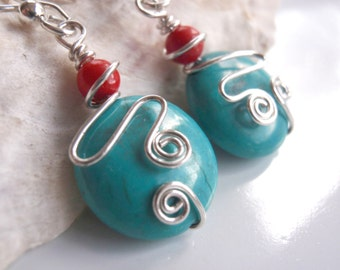 Southwest Turquoise,Red Coral Earrings and Silver Earrings Wire Wrapped in Anti Tarnish Sterling