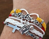 Believe Basketball Team Spirit Multi-Strand Sports Fan Friendship Infinity Charm Bracelet