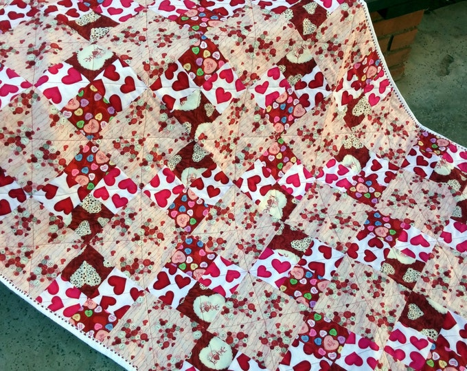 Handmade Heart Lap Quilt, Heart Decor, Red and White Blanket, Pink Heart Decor