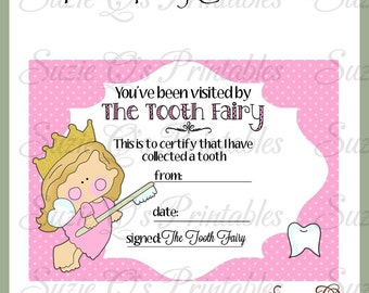 Tooth Fairy Certificate (pink background) - Digital Printable - Immediate Download