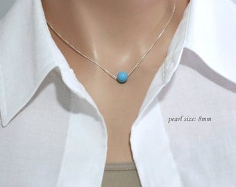 CUSTOM COLOR Swarovski Turquoise Pearl Necklace, Sterling Silver Necklace, Bridesmaid Necklace, Bridesmaid Gift, Tiffany Blue Necklace