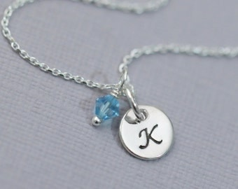Sterling Silver Initial Necklace, Birthstone Necklace, Bridesmaid Necklace, Personalized Bridesmaid Gift, Flower Girl Necklace, Gift for Her
