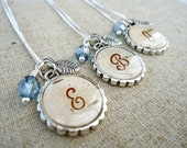 Personalized Bridesmaids Gifts - Birch Bark Bridesmaids Necklaces - Rustic Initial Necklace - Silver and Dusty Blue Birch Bark Jewelry