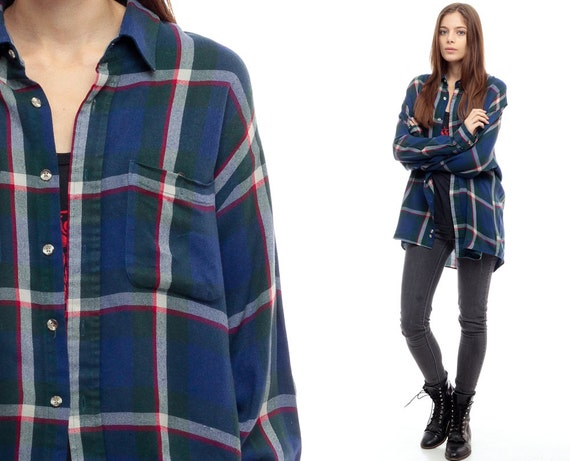 Blue plaid shirt 90s flannel grunge lumberjack navy red for Women s button down shirts extra long