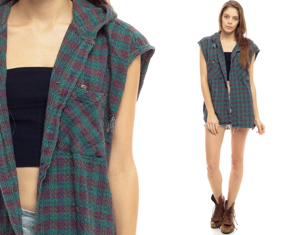 Hooded flannel shirt red plaid vest 90s grunge oversized for Flannel shirt and vest