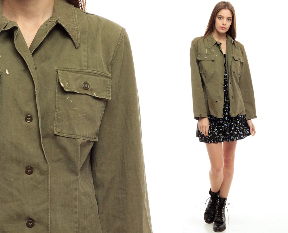 Army Shirt Jacket Green Military Shirt 70s DISTRESSED Olive