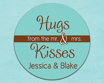 wedding favors custom stickers labels - printed (design61) hugs and kisses from the mr and mrs customized