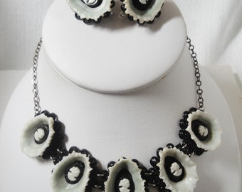 Vintage Shell Cameo Necklace and Earring Set