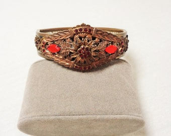 Vintage Filigree Hinged Copper Bangle Bracelet with Ruby Red Stones