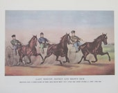1960s Currier & Ives Color Plate Reproduced From The Original Hand-Colored Stone Prints-2 Sided Vintage Book Page