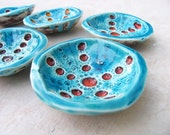 Textured red and turquoise ceramic bowl, sea treasures collection