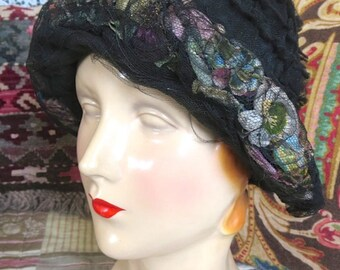 1920s Flapper Fantastic Cloche Hat Black Ruffle Netting Over Colorful Silk Flowers Enchanted April