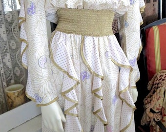1980s Vintage Outrageous Jeanne Marc Dress Zandra Rhodes Inspired Gold Trim 38-40 Bust Size 4