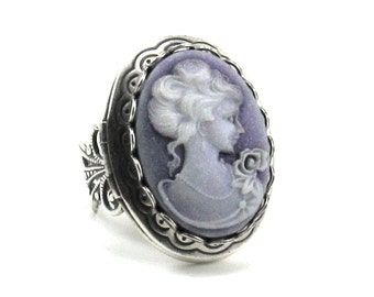 Gorgeous Neo Victorian Cameo Locket Ring in Shimmering Amethyst Purple and Silver Plated Band - By Ghostlove