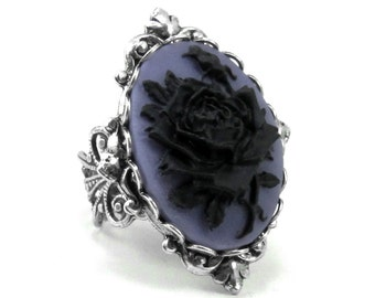 Gothic Ring - Mourning Ring - Adjustable Black on Purple Rose Cameo Ring with Sterling Silver Plated Band