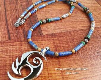 Men's Tribal Gemstone Necklace, Sodalite, Jasper, Tiger Eye, Turquoise, Stainless Steel Pendant, Blue, Green, Brown, Handcrafted