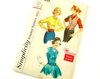 Vintage 1950s Womans Size 16 Weskit and Blouse Simplicity Sewing Pattern 2240 / bust 36 waist 28 / Complete