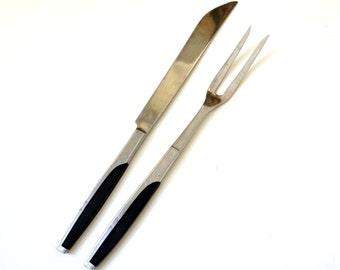Vintage 1950s Mar Crest Ebony Elegance Carving Set / Black Molded Handle Starburst Eames Atomic
