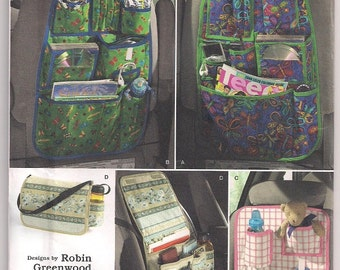 Car Organizers, Simplicity 2916, back seat organizer, carry all tote, baby tote, tote bag, car tote, craft pattern, Robin Greenwood