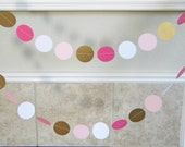 Paper Garland Decorations for Spring Summer Wedding, Birthday, Shower, Graduation Photo in Deep Pink, White, Pink, Metallic Antique Gold