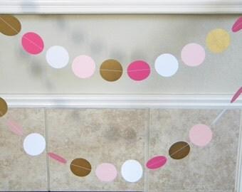 Paper Garland Decorations for Spring Summer Wedding, Birthday, Shower, Graduation Photo in Deep Pink, White, Pink, Metallic Antique Gold