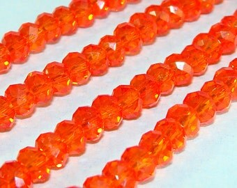 55 Orange Crystal Beads 3mm x 5mm Rondelle Oval Chinese Crystal Glass Faceted 7 Inch Strand Jewelry Supplies 5mm x 3mm Saucer SR13