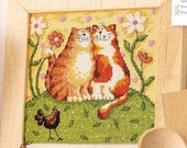 Counted Cross Stitch Pattern Kit for Embroidery Cute Cats Couple - richipy