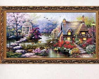 Counted Stamped Needlework Counted Cross Stitch Kit Garden Cottage for Embroidery - richipy
