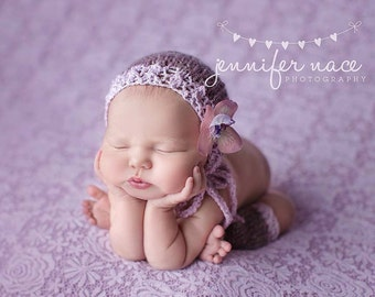 Lavender Newborn Bonnet Baby Girl Hat Legwarmers Set Knitted Mohair Lace Photo Prop Infant Coming Home Cap Purple Going Home Outfit Silver