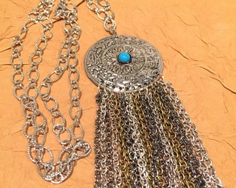 Turquoise glass metal pendant necklace