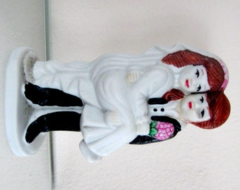 Vintage Bride and Groom Wedding Cake Topper Bisque Figurine CWI New York 1960s