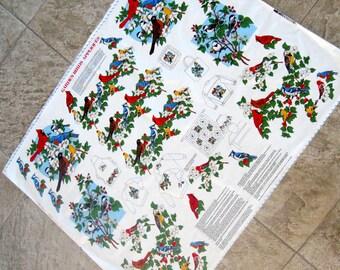 Vintage Applique Fabric Garden Birds Cut and Sew Cranston VIP Robin Cardinal Finch Bluebird