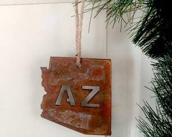 Rustic Arizona AZ State Ornament by WATTO Distinctive Metal Wear /  Christmas Ornament